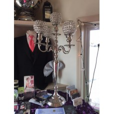 Silver 5 arm Table Top Candelabra with Crystal Votives